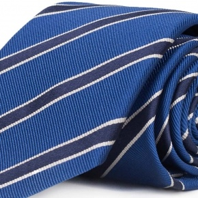 Navy Striped Blue Mogador Silk Tie - thumbnail image 1