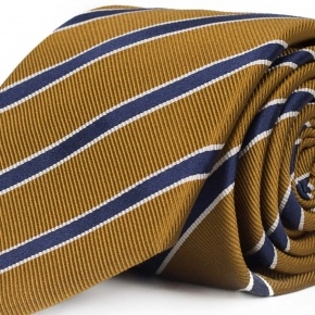 Navy Striped Mustard Mogador Silk Tie - thumbnail image 1