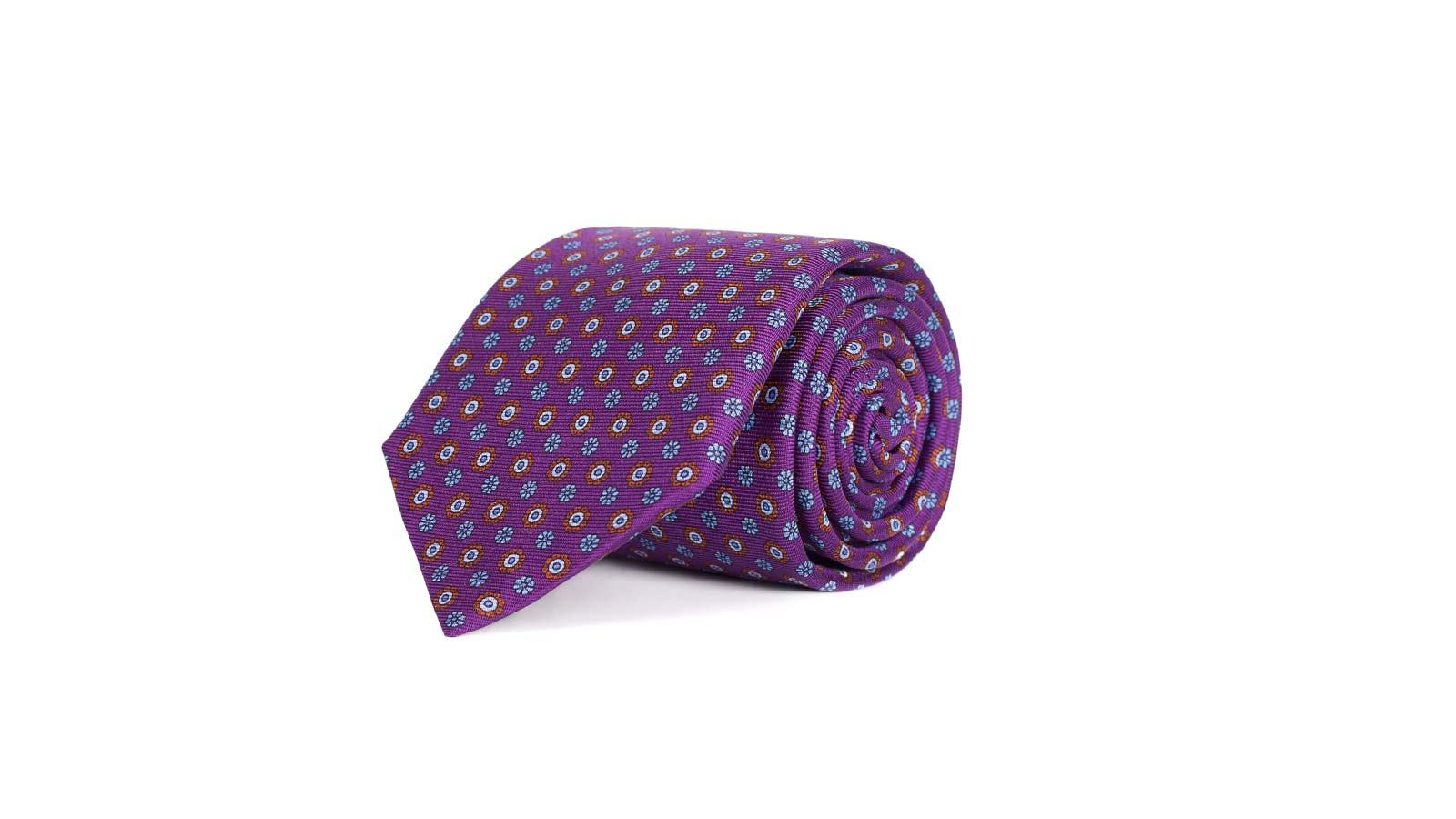 Purple Floral 28 Momme Silk Tie - slider image