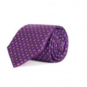 Purple Floral 28 Momme Silk Tie - thumbnail image 1