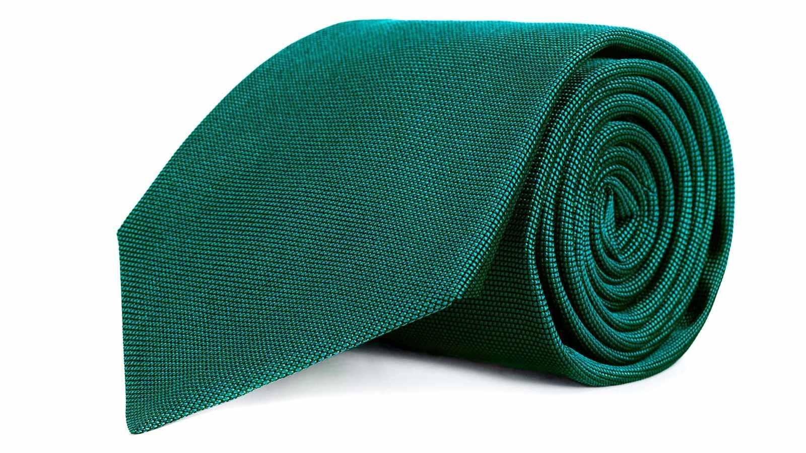Solid Green Silk Tie - slider image