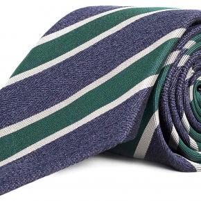 Navy & Green Silk Tie - thumbnail image 1
