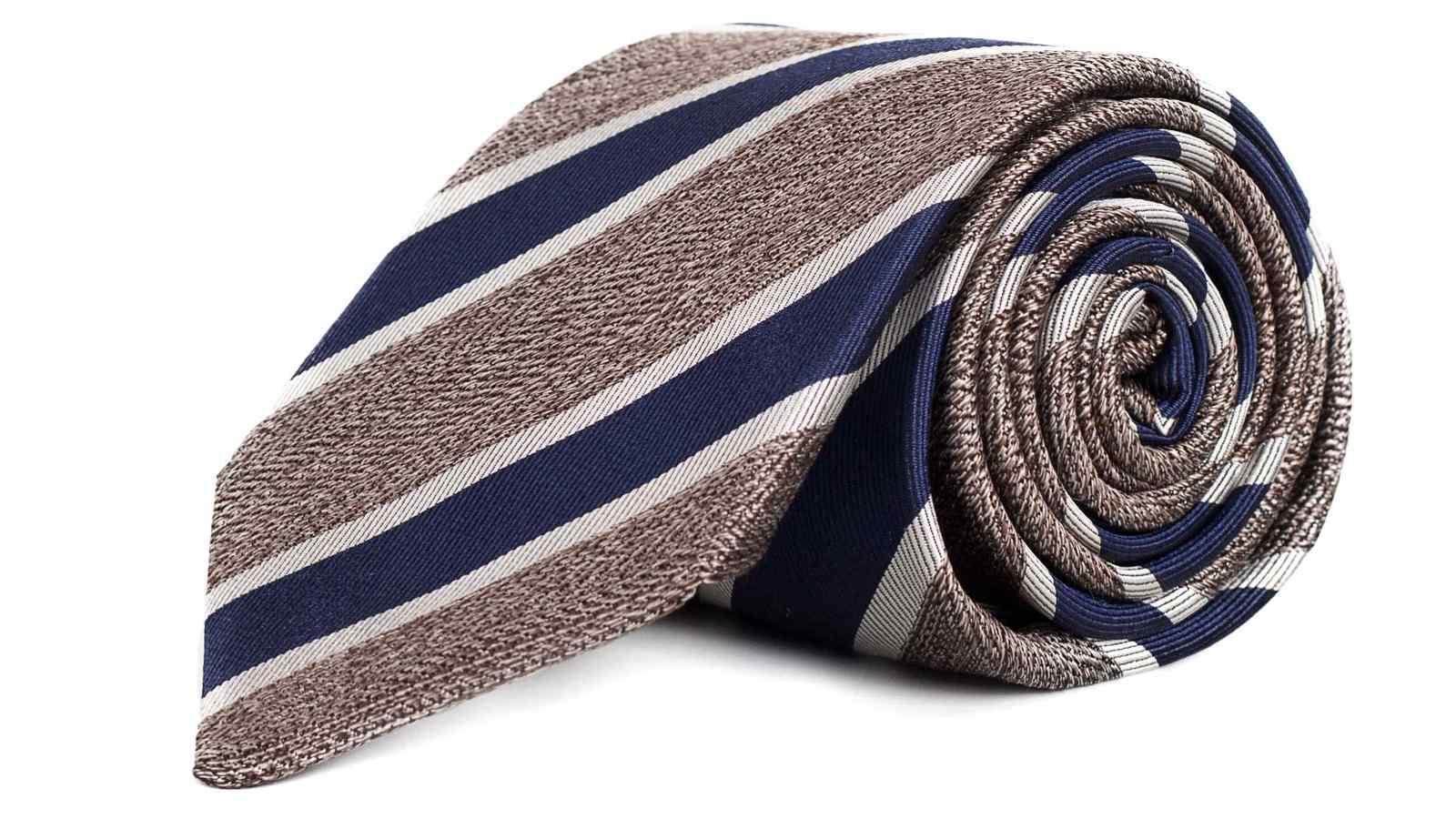 Navy & Khaki Silk Tie - slider image