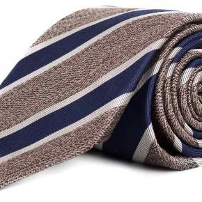 Navy & Khaki Silk Tie - thumbnail image 1