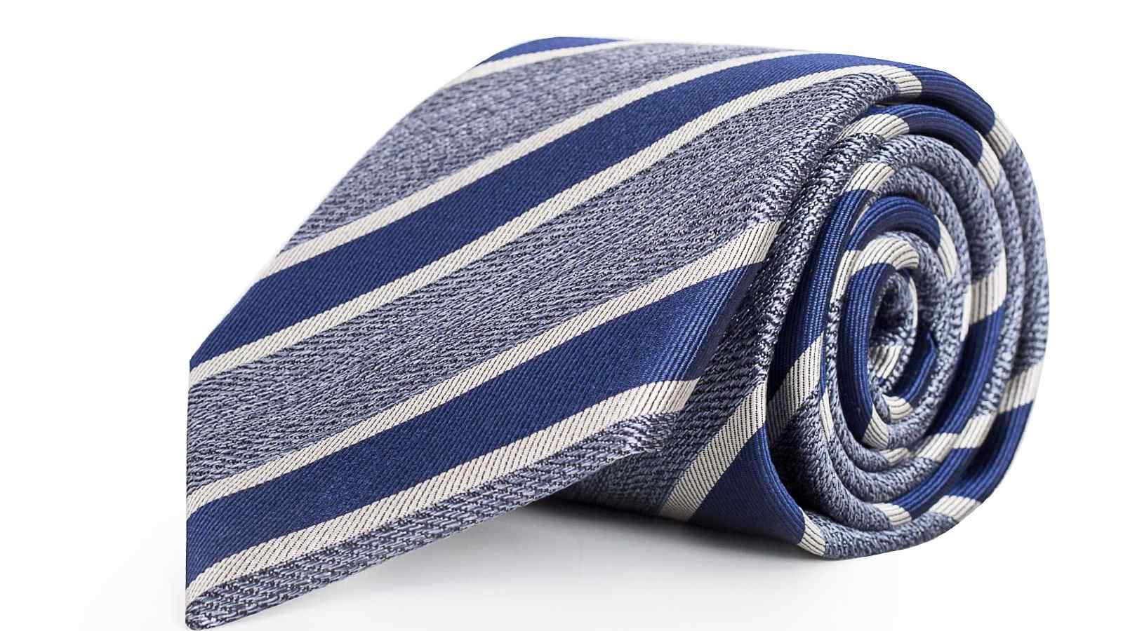 Navy & Blue Silk Tie - slider image