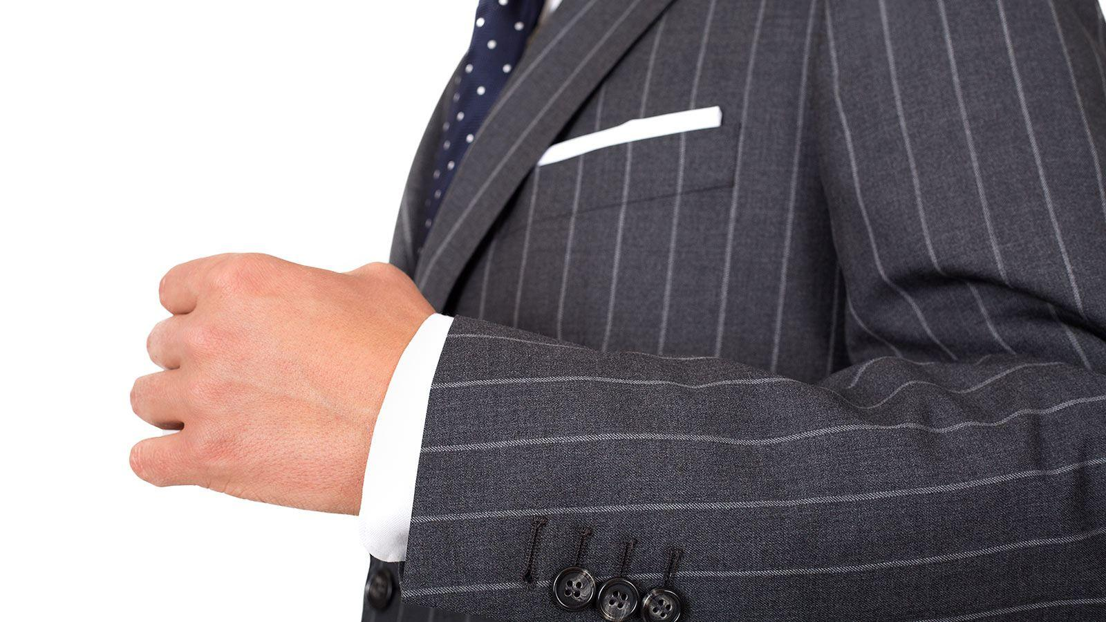Vendetta Premium Grey Wide Chalkstripe Suit - slider image