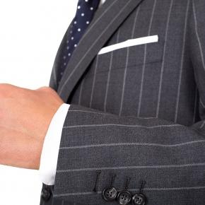 Vendetta Premium Grey Wide Chalkstripe Suit - thumbnail image 1
