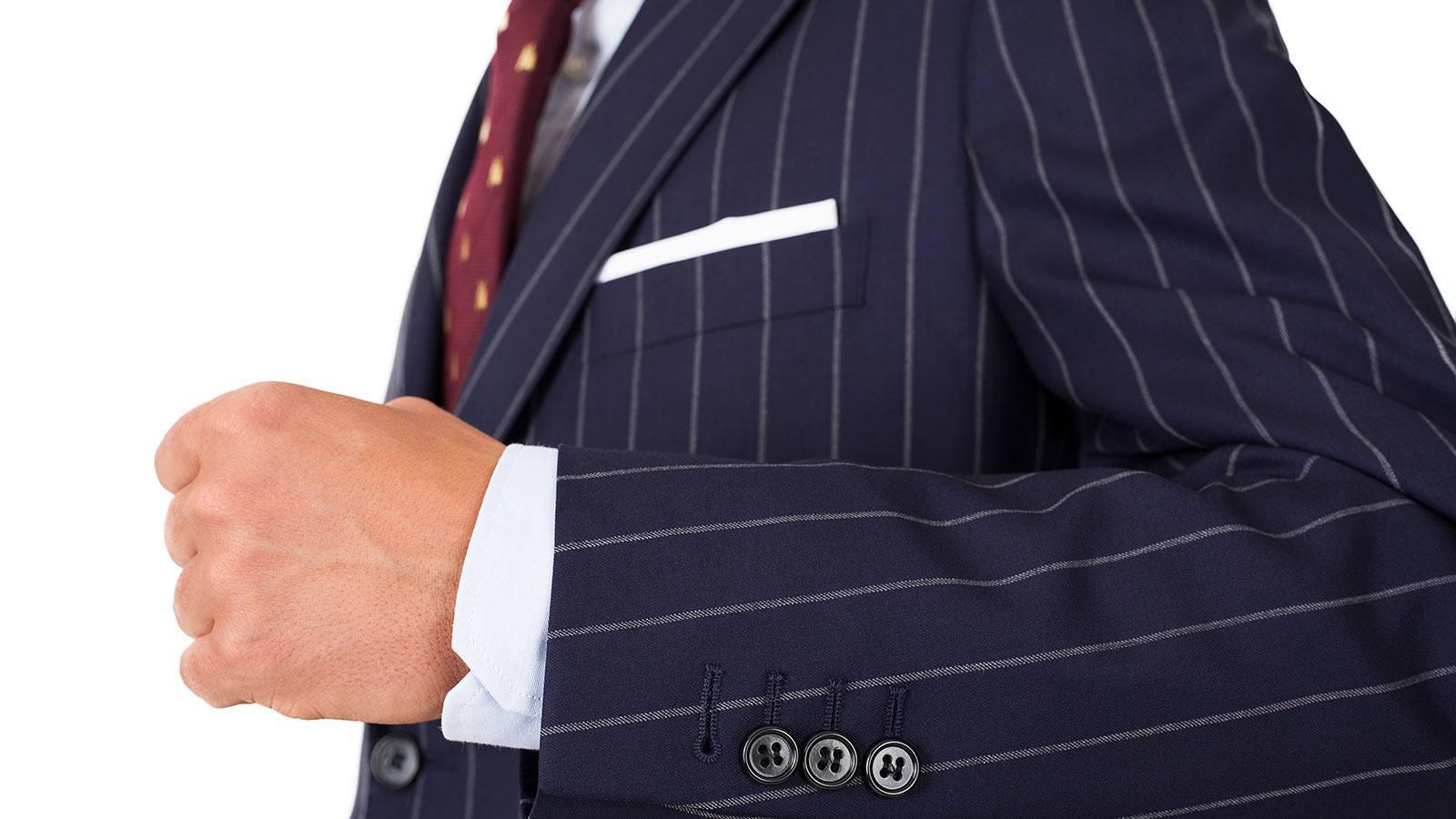 Vendetta Premium Navy Wide Chalkstripe Suit - slider image