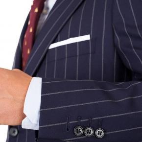 Vendetta Premium Navy Wide Chalkstripe Suit - thumbnail image 1