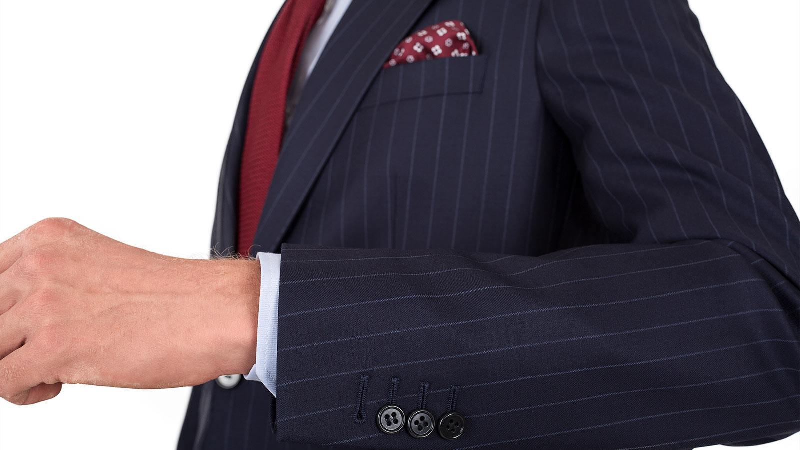 Suit in Navy Chalkstripe Wool - slider image 1