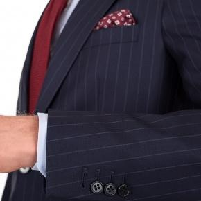 Suit in Navy Chalkstripe Wool - thumbnail image 1
