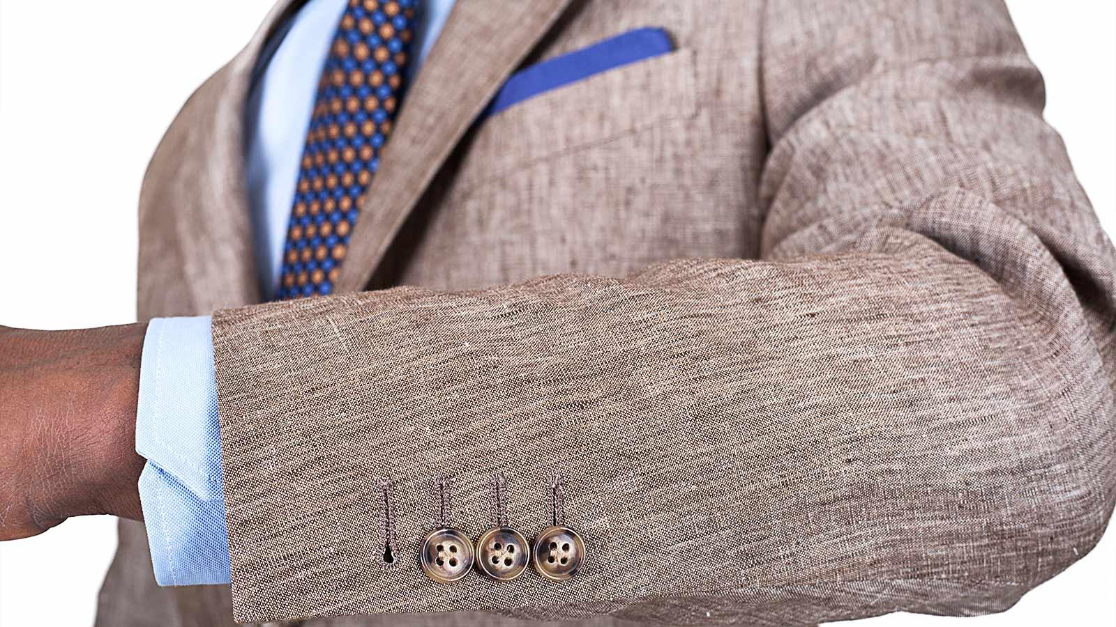 Khaki Linen Suit - slider image 1