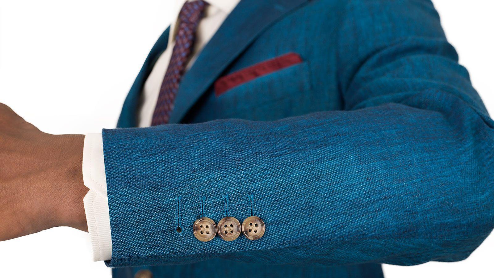 Teal Linen Suit - slider image 1