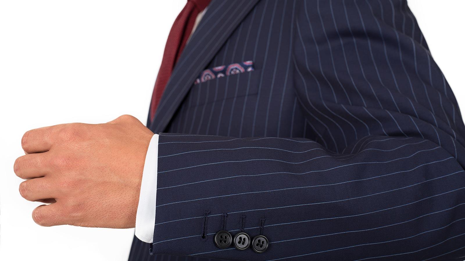 Navy Pinstripe Suit - slider image 1