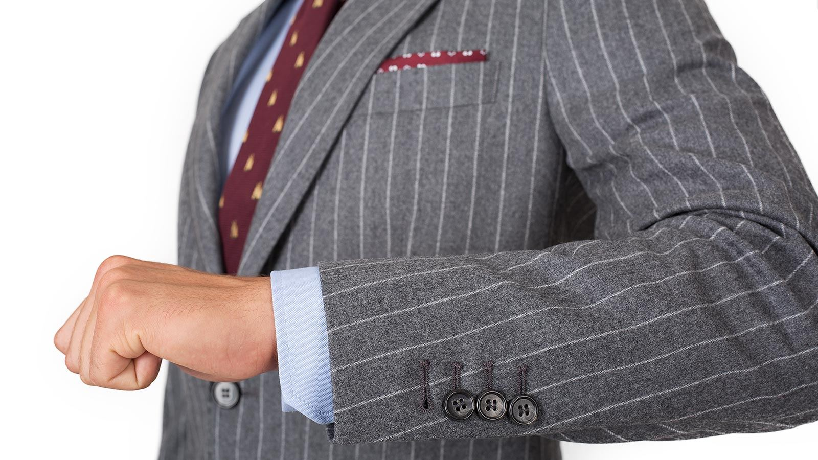 Grey Chalkstripe Wool Flannel Suit - slider image