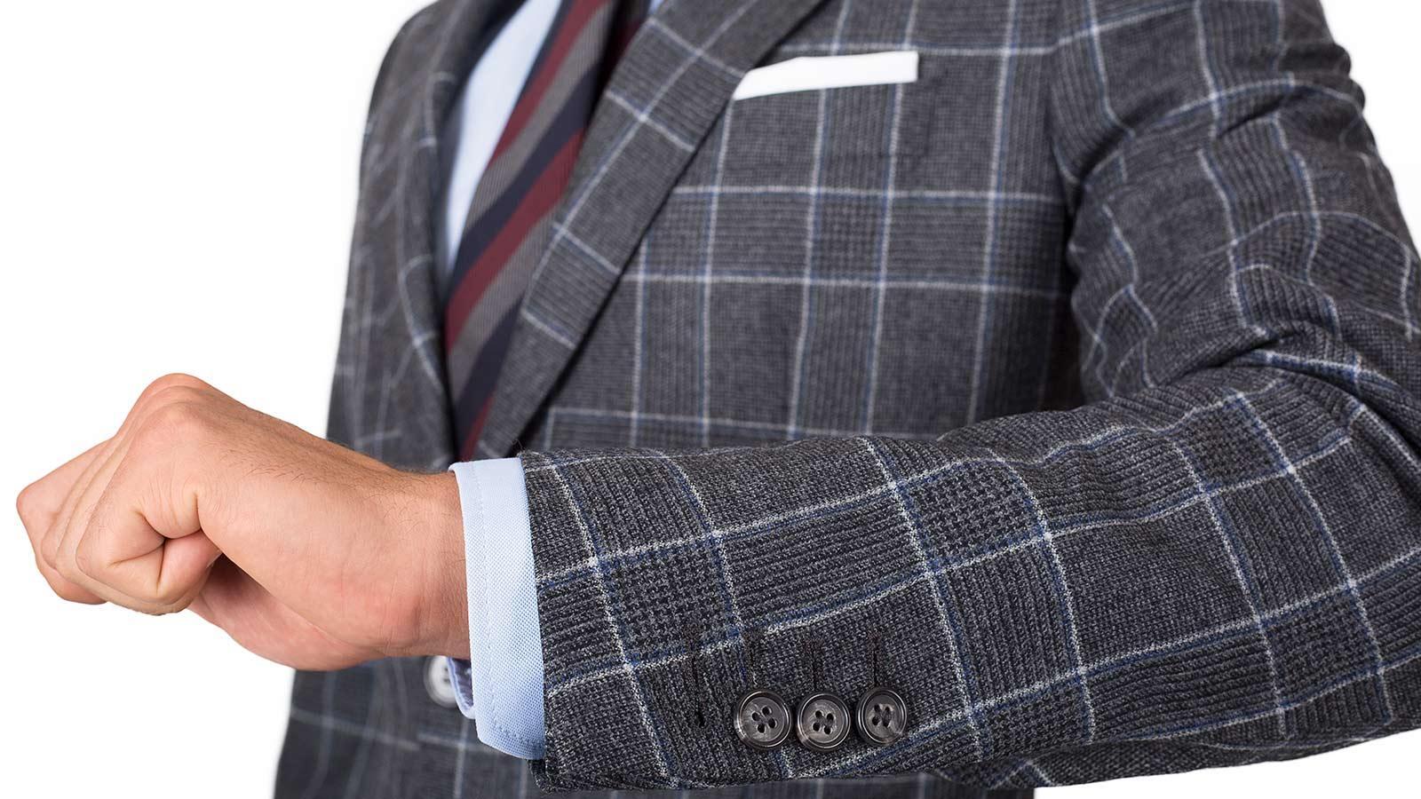 Grey Plaid Wool Flannel Suit - slider image 1