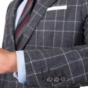 Grey Plaid Wool Flannel Suit - thumbnail image 1