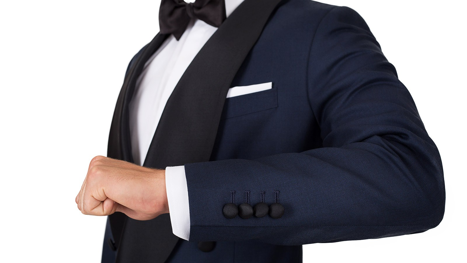 Blue Sharkskin Double Breasted Tuxedo - slider image