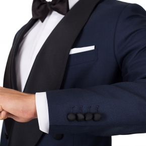 Blue Sharkskin Double Breasted Tuxedo - thumbnail image 1