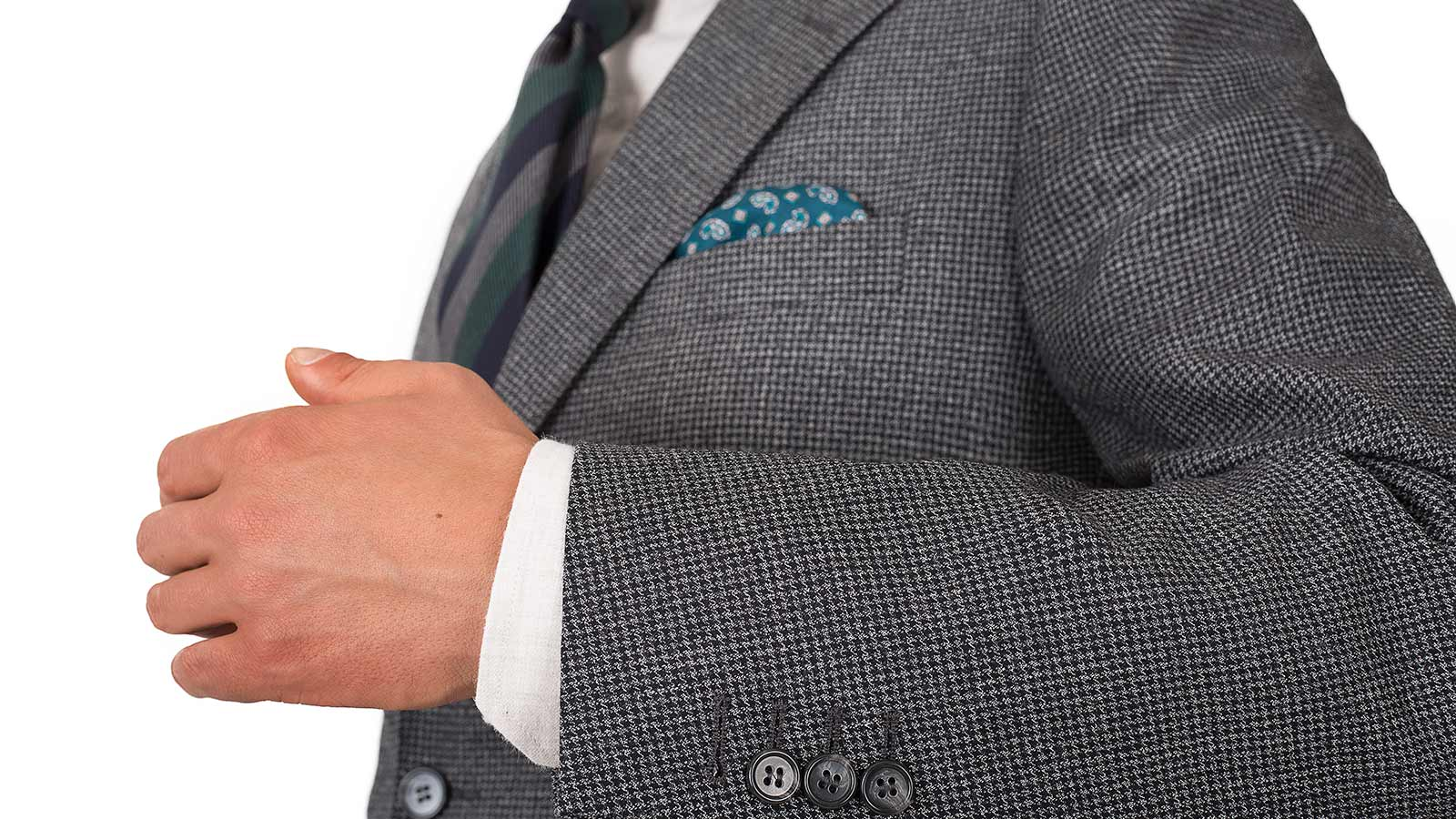 Dark Grey Houndstooth 3 Piece Suit - slider image 1