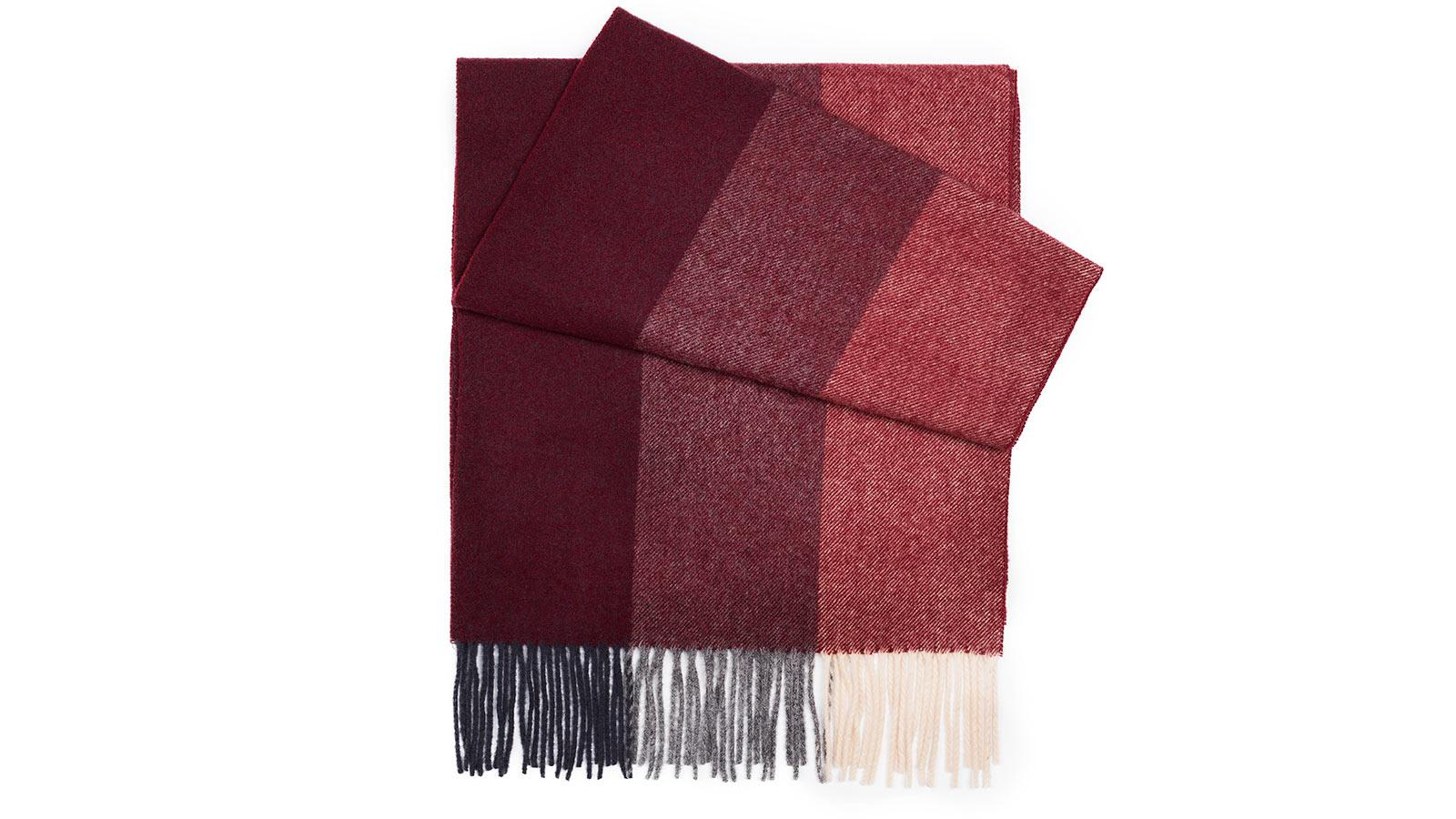 Red & Burgundy Striped Wool Scarf - slider image 1