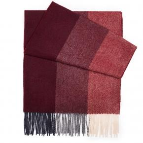 Red & Burgundy Striped Wool Scarf - thumbnail image 1