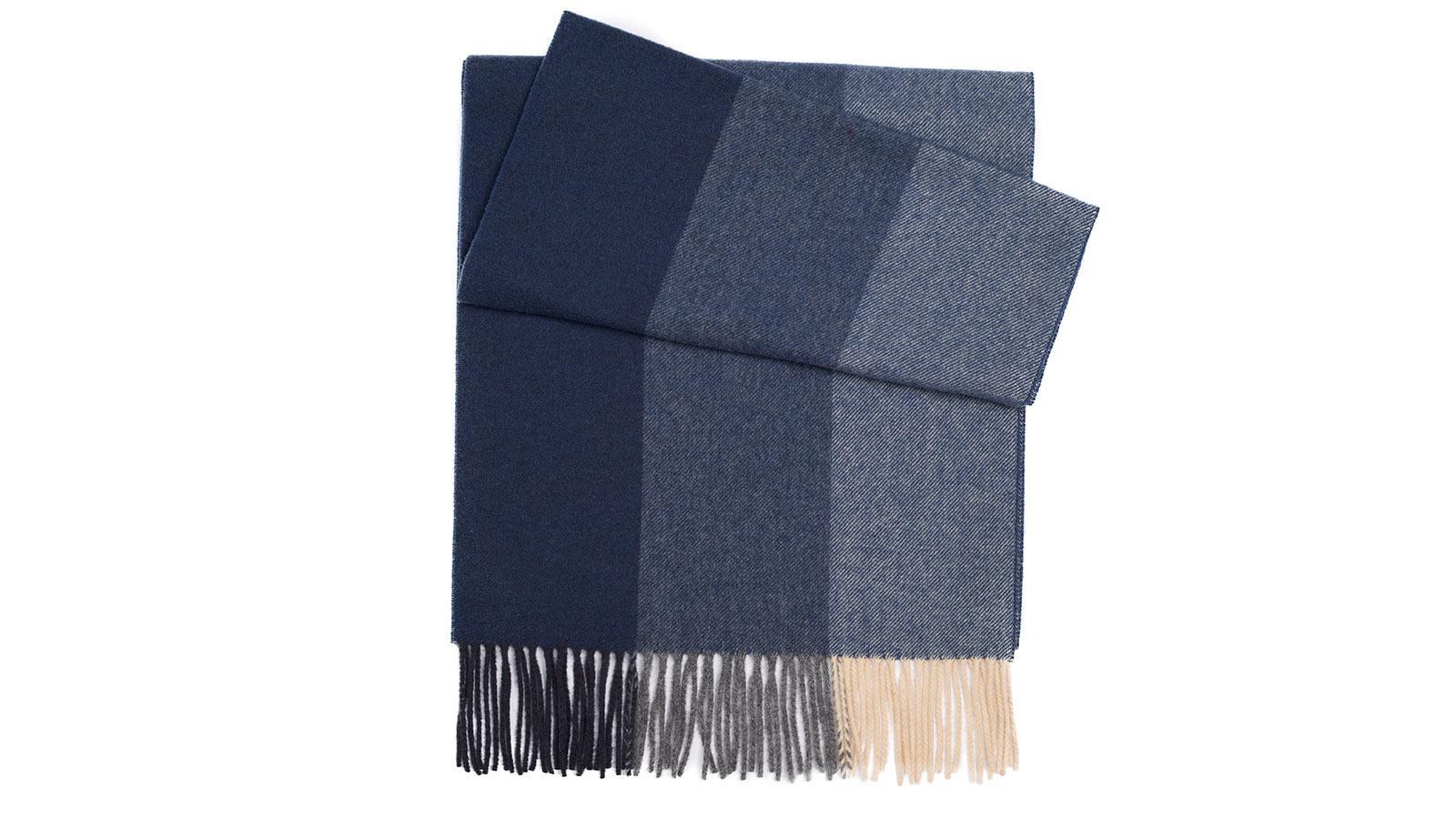 Navy & Blue Striped Wool Scarf - slider image 1