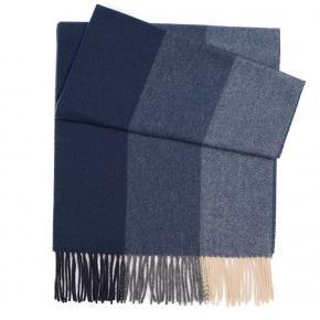 Navy & Blue Striped Wool Scarf - thumbnail image 1