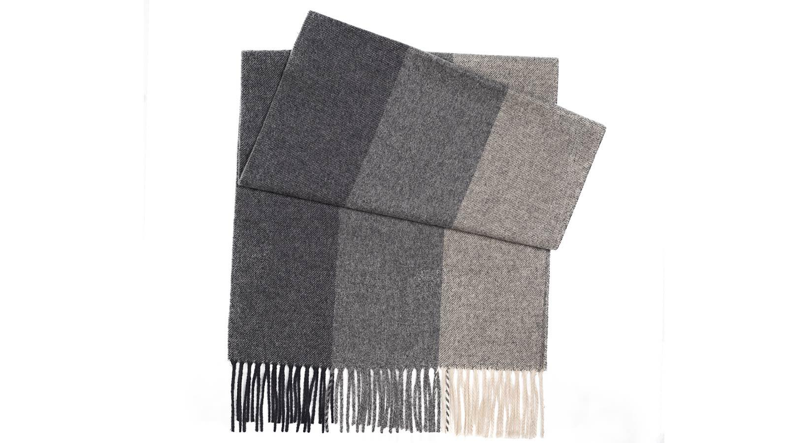 Charcoal & Grey Striped Wool Scarf - slider image 1