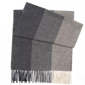 Charcoal & Grey Striped Wool Scarf - thumbnail image 1
