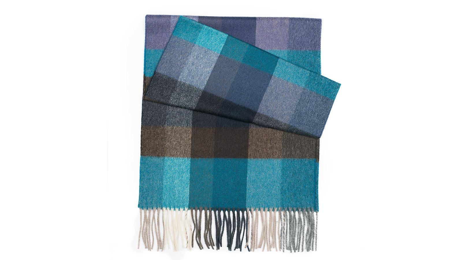 Blue & Green Check Wool Scarf - slider image 1