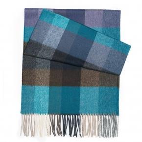 Blue & Green Check Wool Scarf - thumbnail image 1