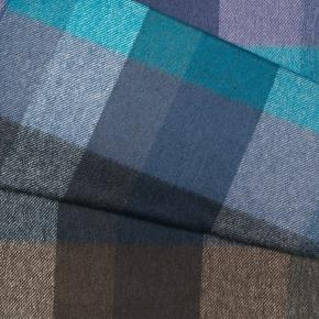 Blue & Green Check Wool Scarf - thumbnail image 2