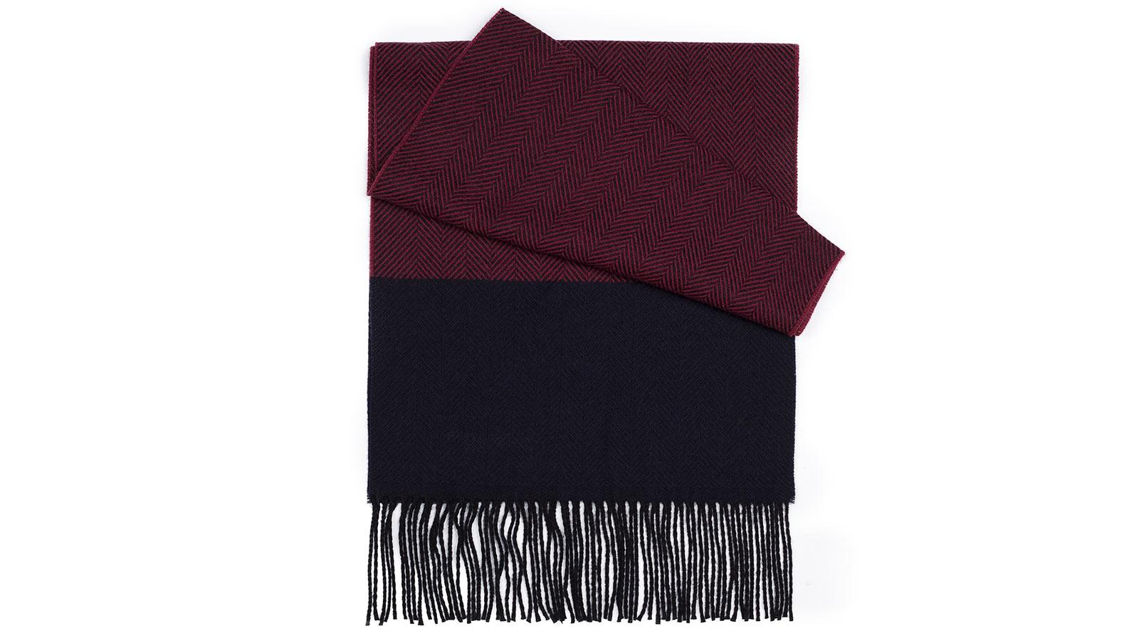 Burgundy & Navy Wool Scarf - slider image 1