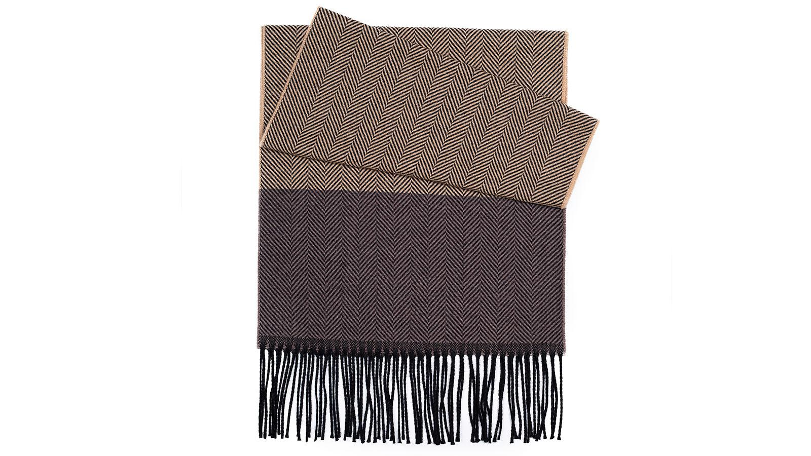 Sand & Brown Wool Scarf - slider image 1
