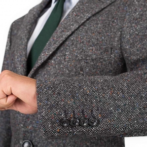 Coat in Charcoal Donegal Wool - thumbnail image 1