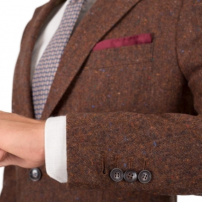 Copper Brown Donegal Tweed Blazer - thumbnail image 1