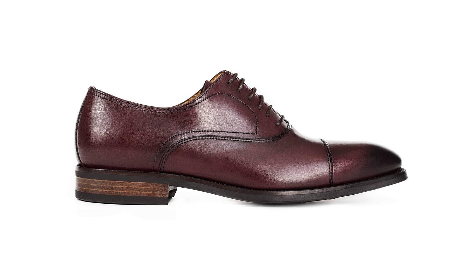 Burgundy Cap-Toe Oxford with a Rubber Sole - slider image 1