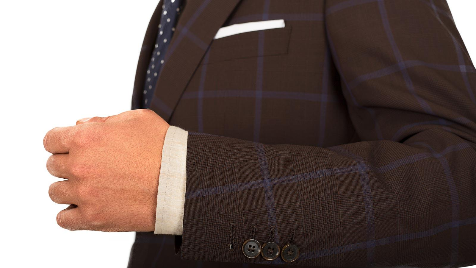 Blue Check Brown Suit - slider image 1