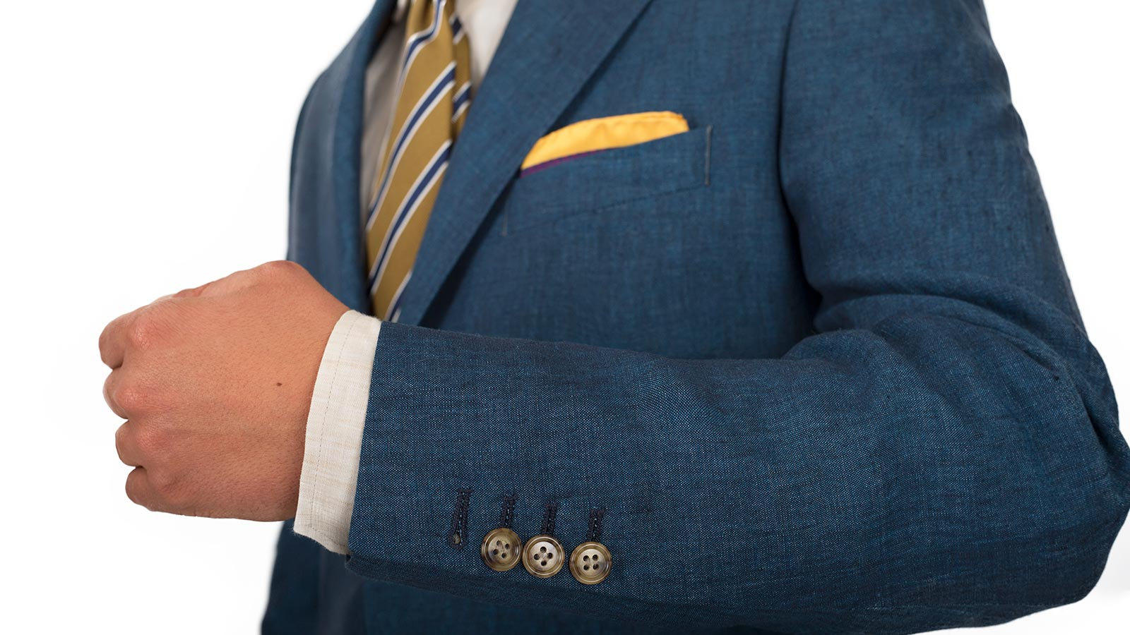 Teal Blue Linen Suit - slider image 1