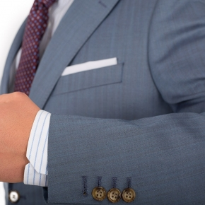 Sky Blue Wool & Silk Suit - thumbnail image 1