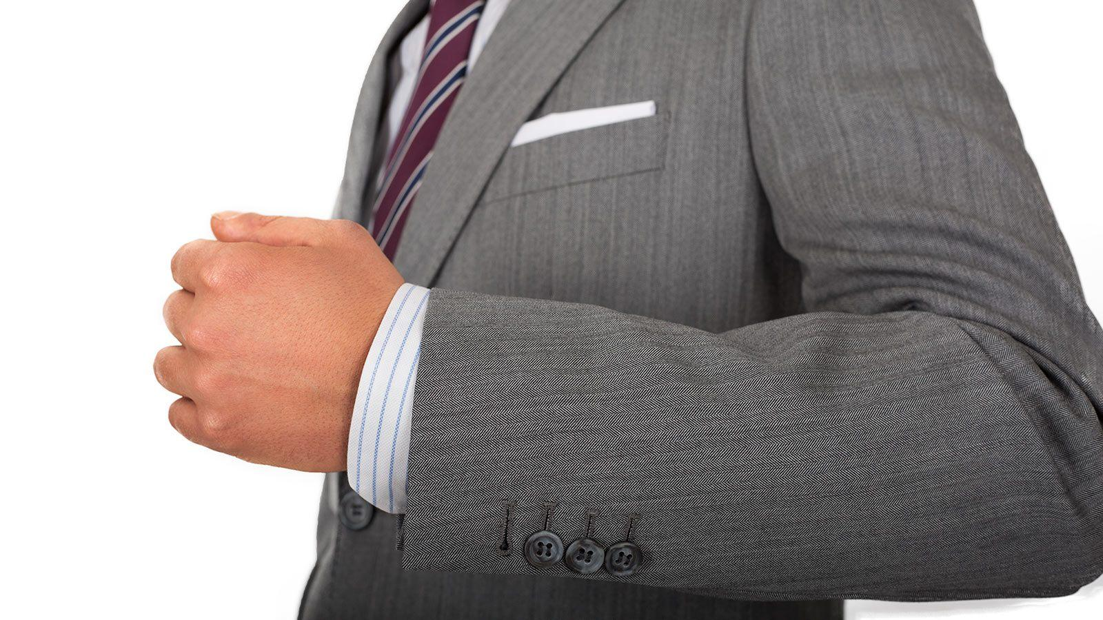Grey Herringbone Suit - slider image 1