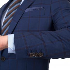 Vendetta Premium Red Check Navy Suit - thumbnail image 1