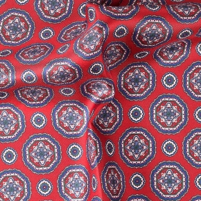 Red & Blue Shapes Italian 100% Silk Pocket Square - thumbnail image 1