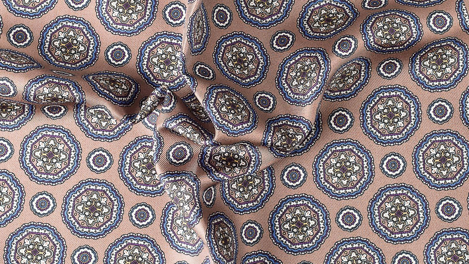 Light Brown & Blue Shapes Italian 100% Silk Pocket Square - slider image