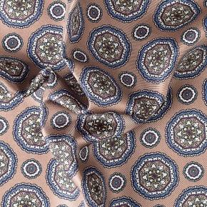 Light Brown & Blue Shapes Italian 100% Silk Pocket Square - thumbnail image 1