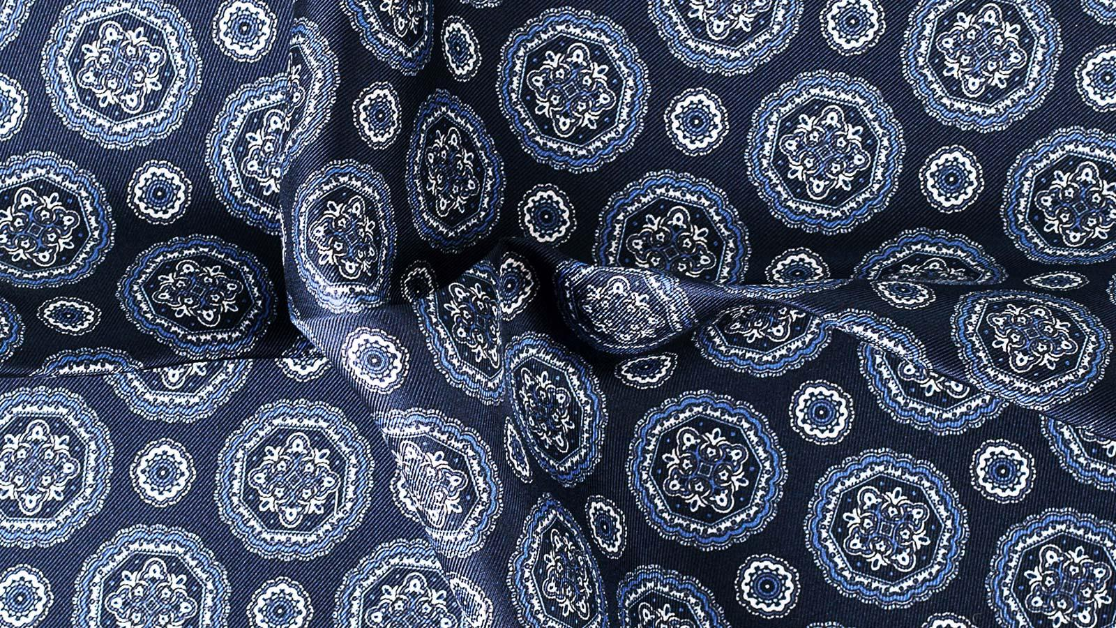 Navy & White Shapes Italian 100% Silk Pocket Square - slider image