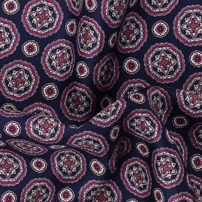 Navy & Pink Shapes Italian 100% Silk Pocket Square - thumbnail image 1