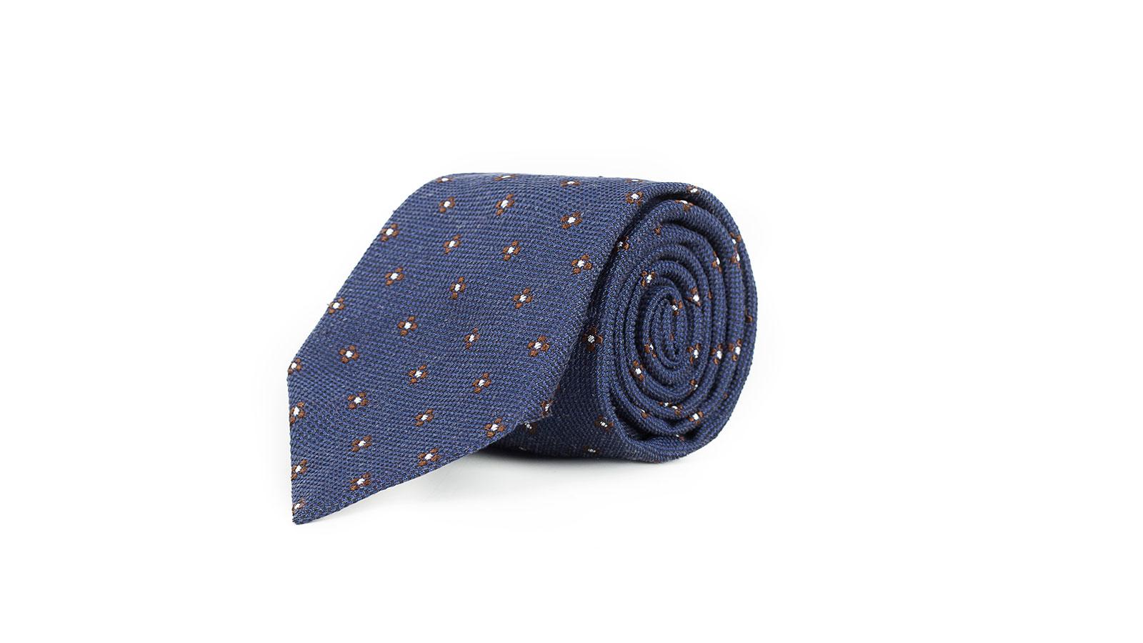 Blue Floral Bourette Silk Tie - slider image