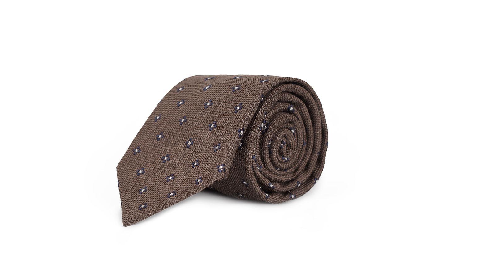 Brown Floral Bourette Silk Tie - slider image